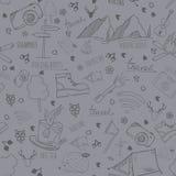 Картина вектора безшовная с располагаясь лагерем элементами Стоковое Изображение RF