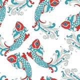 Картина вектора безшовная с рыбами karp Стоковое Изображение