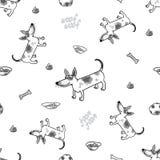 Картина вектора безшовная с смешной собакой Стоковые Изображения