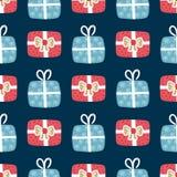 Картина вектора безшовная с текстурированными подарочными коробками рождество веселое Элементы нарисованные рукой Предпосылка с д стоковое фото rf