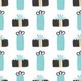 Картина вектора безшовная с текстурированными подарочными коробками рождество веселое Элементы нарисованные рукой Предпосылка с д стоковая фотография