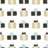 Картина вектора безшовная с текстурированными подарочными коробками рождество веселое Элементы нарисованные рукой Предпосылка с д стоковая фотография rf