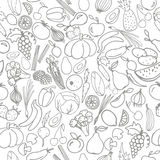Картина вектора безшовная с фруктами и овощами Стоковые Фотографии RF