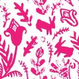 Картина вектора безшовная с цветками и зайчиками Стоковые Изображения