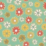 Картина вектора безшовная с цветками предпосылки doodles Предпосылка простого романтичного цвета флористическая в нарисованной ру иллюстрация вектора