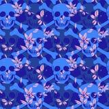 Картина вектора безшовная с черепами цвета Стоковая Фотография