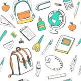 Картина вектора безшовная с школьными принадлежностями на белизне Стоковая Фотография