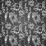 Картина вектора безшовная с школьными принадлежностями Стоковые Фотографии RF