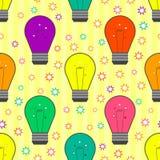 Картина вектора безшовная с электрической лампочкой в квартире Стоковое Изображение