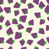 Картина вектора безшовная с яркими сочными виноградинами еда здоровая Картина лета плодоовощ, красочная печать для дизайна Стоковое фото RF