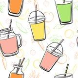 Картина вектора безшовная с smoothies, фруктами и овощами Иллюстрация штока