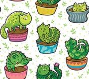 Картина вектора безшовная с succulents и кактусами в форме котов в баках также вектор иллюстрации притяжки corel иллюстрация штока