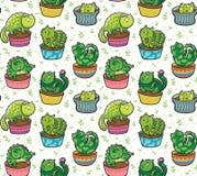 Картина вектора безшовная с succulents и кактусами в форме котов в баках также вектор иллюстрации притяжки corel бесплатная иллюстрация
