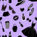 Картина вектора безшовная, текстура, печать с девушками стильным аксессуаром, косметикой, веществом на фиолете, пурпурном, покраш иллюстрация вектора