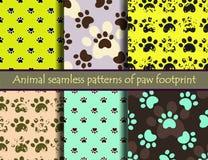 Картина вектора безшовная установила с следами ноги кота или собаки Стоковые Изображения RF