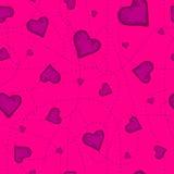 Картина вектора безшовная фиолетового сердца на фиолетовой предпосылке Стоковое Изображение