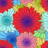Картина вектора безшовная: Яркие покрашенные цветки, красный цвет, голубые цветеня цветка иллюстрация вектора