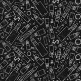 Картина вектора безшовная для обслуживания магазина и e-сигареты vape Стоковые Изображения RF