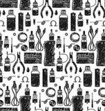 Картина вектора безшовная vape и аксессуаров Стоковое Изображение RF