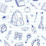 Картина вектора безшовной нарисованная рукой Назад к doodles школы на управляемой бумаге Стоковое Изображение RF