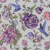Картина вектора винтажная с розами и пионами Ретро флористические обои, красочный фон бесплатная иллюстрация