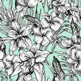 Картина вектора винтажная флористическая тропическая безшовная Стоковое Изображение