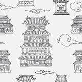 Картина вектора восточная безшовная с азиатской архитектурой Стоковые Изображения