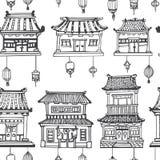 Картина вектора восточная безшовная с азиатской архитектурой Стоковые Фото