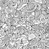 Картина вектора влюбленности Doodles схематичная безшовная Стоковая Фотография RF