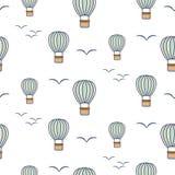 Картина вектора горячих воздушных шаров и птиц безшовная иллюстрация вектора