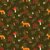 Картина вектора деревенского леса осени шаржа безшовная бесплатная иллюстрация