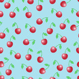 Картина вектора лета безшовная с красными вишнями Стоковые Фото