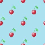 Картина вектора лета безшовная с красными вишнями Стоковая Фотография