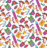 Картина вектора значков doodle вечеринки по случаю дня рождения безшовная Стоковая Фотография RF