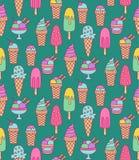 Картина вектора значков doodle мороженого безшовная Стоковая Фотография RF