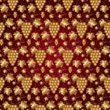 Картина вектора золотая безшовная на красном цвете с виноградинами иллюстрация штока