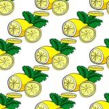 Картина вектора лимона и мяты безшовная Стоковая Фотография