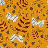Картина вектора листьев и жолудей безшовная иллюстрация штока