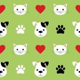 Картина вектора котов и собак мультфильма милая безшовная Хороший для предпосылки, обоев, крышки, ткани и карты для детей иллюстрация штока
