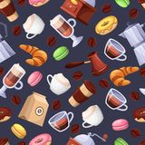 Картина вектора кофейни безшовная черная Иллюстрация шаржа плоская Элементы дизайна предпосылки печати ткани Стоковые Изображения RF