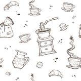 Картина вектора кофе и десерта безшовная Элементы еды на белой предпосылке Точильщик, чашка, булочки, шоколад Стоковое Фото