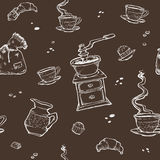 Картина вектора кофе и десерта безшовная Элементы еды на темной предпосылке Точильщик, чашка, булочки, шоколад Стоковые Фотографии RF