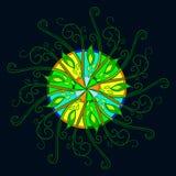 Картина вектора круглая на черной предпосылке Стоковое Изображение