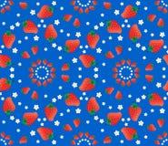 Картина вектора клубники на голубой предпосылке Стоковое Изображение RF