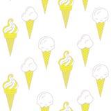 Картина вектора мороженого безшовная Собрание лета Стоковое Фото