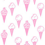 Картина вектора мороженого безшовная Собрание лета Стоковое фото RF