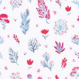Картина вектора нарисованная рукой безшовная Заводы в красных и голубых цветах на белой предпосылке Стоковое Изображение RF