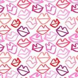 Картина вектора нарисованная рукой безшовная с губами абстрактный способ предпосылки цветастая текстура Стоковое Фото