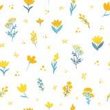 Картина вектора нарисованная рукой флористическая безшовная Цветки в желтых и голубых цветах на белой предпосылке Стоковые Фото