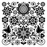 Картина вектора народного искусства ретро, скандинавский дизайн флористического орнамента, украшение нордического стиля этническо иллюстрация вектора